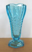 "Davidson ""Chevron"" Art Deco vintage large blue pressed glass vase"